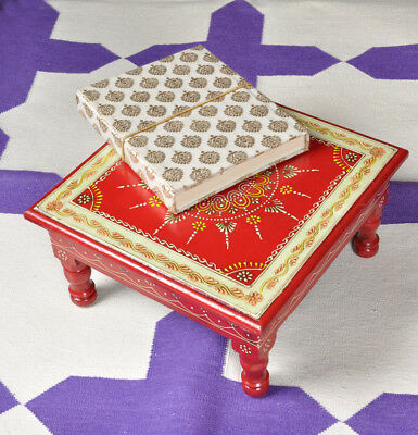 Antique Wooden Temple Chowki Square Coffee Low Side Table Furniture Christmas