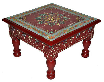 Indian Wooden Furniture Table Painted Square X-mas Low Coffe Side End Table 23cm