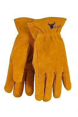 G & F 5013M Kids Leather Work Gloves for 4-6 Years Old, Brown