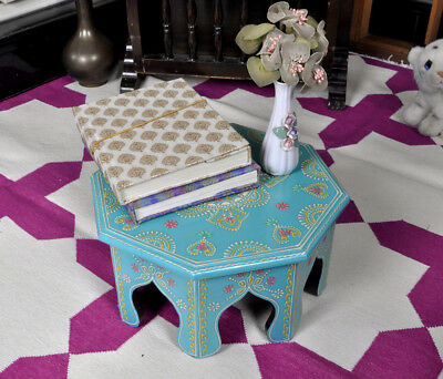 Handmade Round Wooden Footstool Table Painted Xmas Chowki Furniture Side Tables