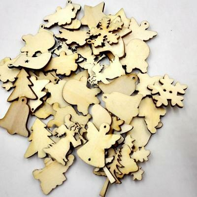 50pcs Natural Wooden Christmas Laser Cut Craft Embellishments Wedding Favors