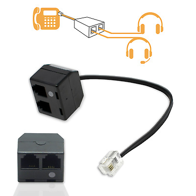 Black Double Headset RJ9 Adapter Dual Handset Connection Splitter With Mute