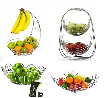 Chrome Banana Hanger Tree Holder Fruit Storage Bowl Basket Stand Hook Orange New