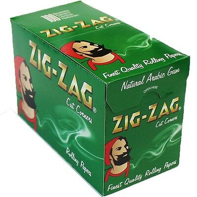 GENUINE Zig Zag Green Cigarette Rolling Papers 100 Booklets Full Box FREE SHIP