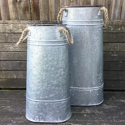 Antique Vintage Style French Grey Zinc Metal Milk Churn Garden Planter Vase M