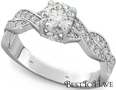 1.53ct Ladies 925 Sterling Silver Round Cut Wedding Engagement Ring
