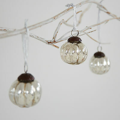 Small Antique Effect Glass Christmas Bauble - Set Of Three