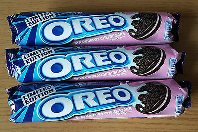3x OREO Limited Edition STRAWBERRY CHEESCAKE Flavour Cookies 462g (3x 154g)