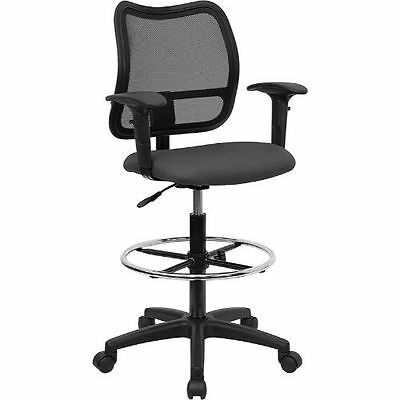 Mid-Back Mesh Drafting Chair with Gray Fabric Seat and Height Adjustable Arms FL