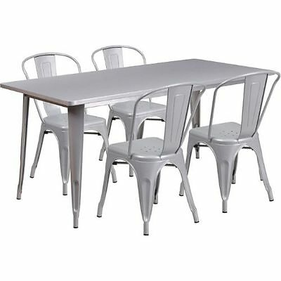 31.5'' x 63'' Rectangular Silver Metal Indoor Table Set with 4 Stack Chairs FLAE