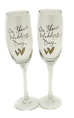 Wedding present toasting champagne flute glasses set of 2 wedding gift idea