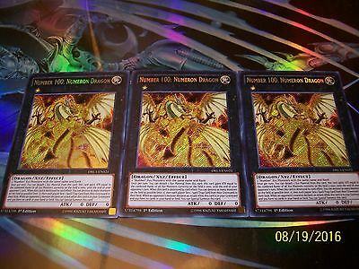 3x Number 100: Numeron Dragon 1st Edition Secret Rare DRL3-EN021 Yu-Gi-Oh!
