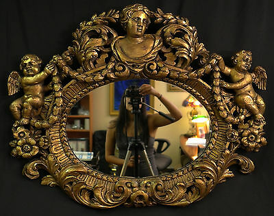 17th Century Mirror w/Hand Carved Gilded Frame - Must see!