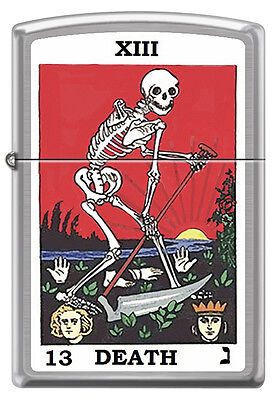Death Card Tarot 13 skeleton with Sickle Brushed Chrome Zippo Lighter