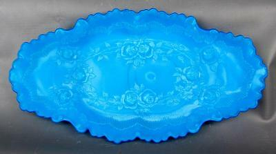 "EAPG MILK GLASS - DITHRIDGE VERSAILLES Blue 9¼"" x 4¾"" Pin Tray"