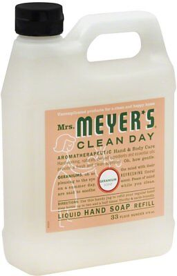 Clean Day Liquid Hand Soap, Mrs. Meyer's, 33 oz refill Geranium