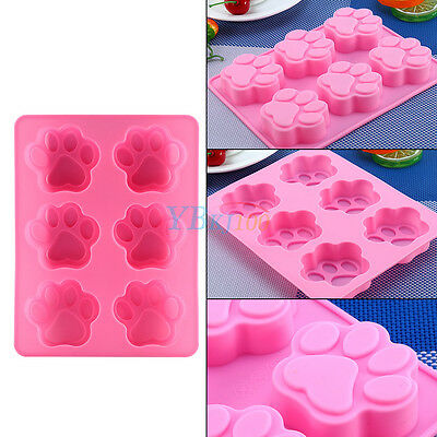 Silicone 6-Cat's Paw Print Mould Chocolate Cookie Candy Soap Resin Wax Mold