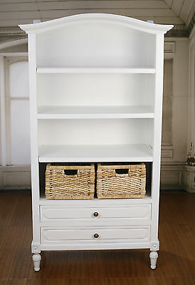 Ex-Display Bookcase Library Childrens French Provincial Antique White Shelving