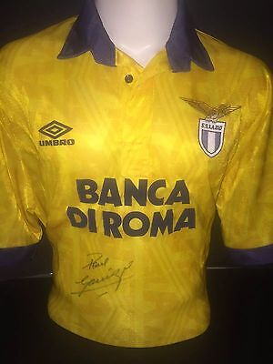 Signed Rare Retro Lazio Away Shirt By Paul Gazza Gascoigne
