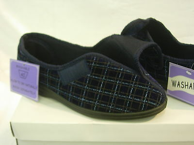 Mens Gents Slipper Velcroish Washable Wide Fit Adjustable Care Home OAP UK SIZE