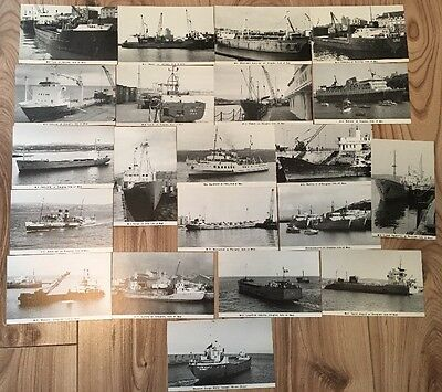 22 x Vintage 1980's Black & White Posctards - Isle of Man Ships, Boats, Cargo
