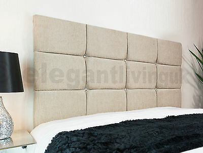 New Cube Designer Headboard Bed Head In Leather, Chenille, Suede, Crushed Velvet