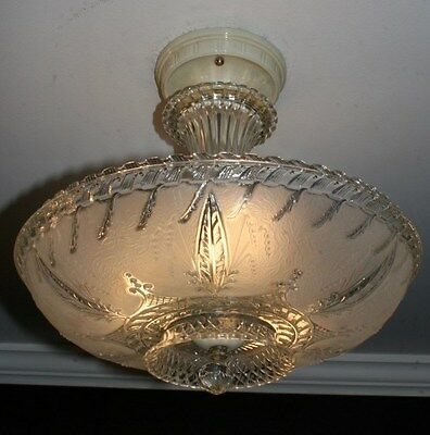 Antique frosted glass art deco light fixture ceiling chandelier semi flush 1940s