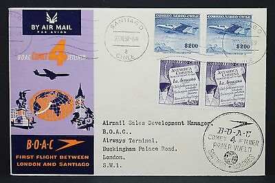 Chile two Pairs on Boac Airmail Cover to London Luftpost Brief 2 Paare (i-3805