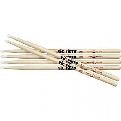 Vic Firth 3-Pair American Classic Hickory Drumsticks Wood 2B. Huge Saving