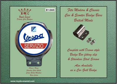 Royale Car Scooter Bar Badge + fittings - VESPA SERVIZIO - B1.0445