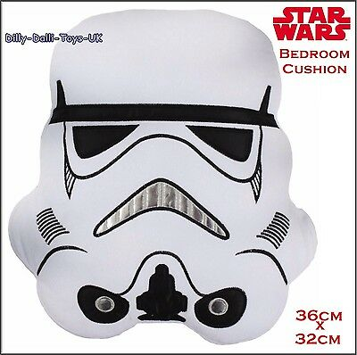 NEW Star Wars STORM TROOPER Bedroom Cushion Novelty Character Face Strormtrooper
