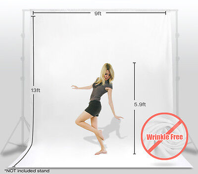Photography 9x13ft White Photo Studio Background Material Backdrop Muslin Screen