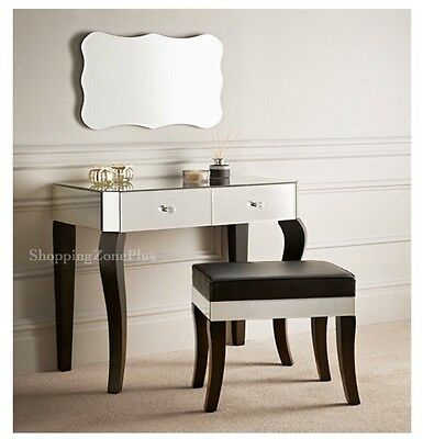 French Style Chic 2 Piece Mirrored Makeup Dressing Table & Stool Set Wooden Legs