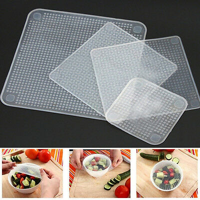 4pc Food Fresh Keeping Silicone Saran Wrap Reusable Food Wrap Seal Cover strech~