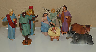 "Vintage 4"" Scale Polymer Nativity 9 Pc Set Unmarked Unique!"