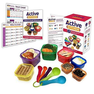 Portion Control Containers 7 Pieces Multi-Colored / Kit for Weight Loss With ...