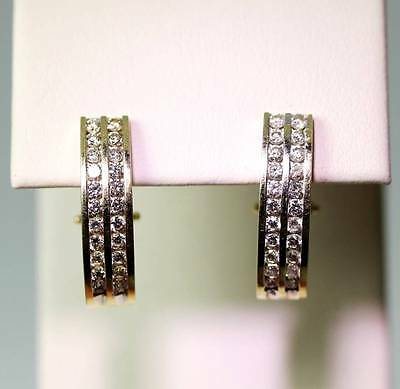 "Brilliant 14K Yellow Gold 1.32tcw Diamond J-Hoop Earrings 7/8"" - 4939"