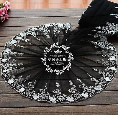 """1 Yard Black DIY Lace Trim Beautiful Floral Embroidered Tulle 10 1/2"""" Wide"""