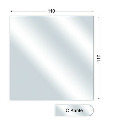 Spark guard plate, Glass Floor Plate With C-Edge, Square, 6 mm high, 110 x 110
