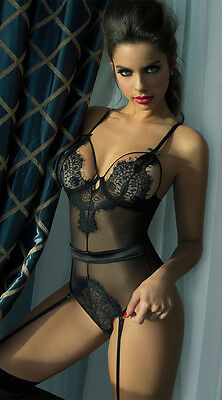 Black Aqua Eyelash Lace Teddy with Garters UK 6 8 10 12 14 16 18