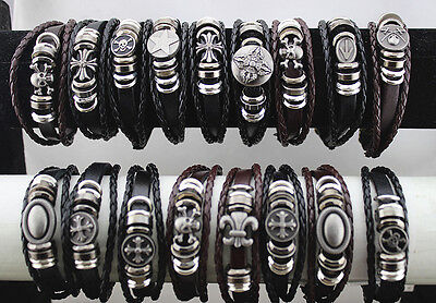 Bulk Lot 20Str Colorful Leather Mix Alloy Fashion Men/Women Bracelet Bangle L690