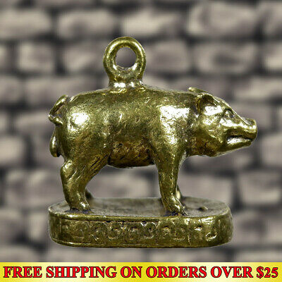 Powerful Wealth Magic Lucky Pig Hunting Money Brass Amulet Pendant Talisman Rich