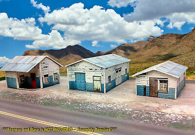 N Scale Buildings Kit - (3) Weathered Effect Sheds - Coverstock Model Kit SK1
