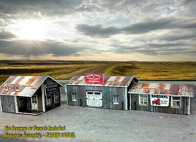 N Scale Buildings Kit - (3) Weathered Effect Sheds - Coverstock Model Kit SK2