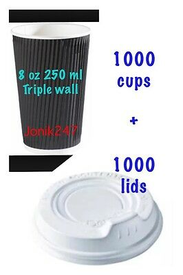 2000 Pieces dissposable paper coffee cups and lids, take away cups 8 oz 250 ml