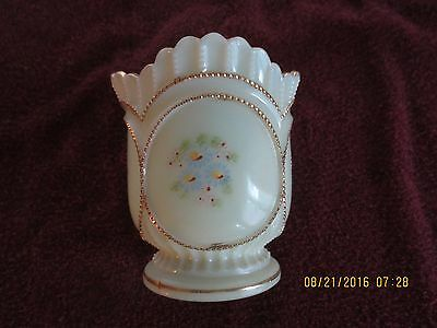 Excellent Early 1900's Northwood Beaded Circle Custard Hand Enameled Spooner