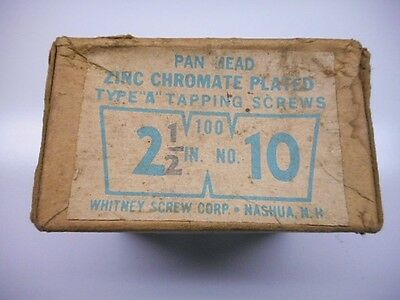 "Old Tools Vtg Box of Zinc Chromate Plated Tapping Screws 2 1/2"" No. 10 Screws"