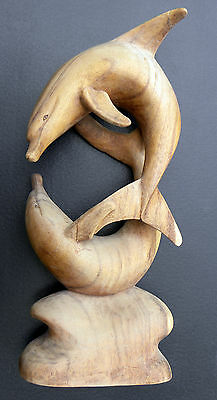 """Large Hand Carved Wooden Dolphin Figurine ~ 20"""" Tall ~ 8"""" X 4"""" Base ...........&"""