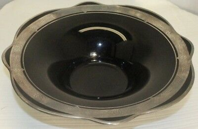 ART NOUVEAU decorative black glass  sterling inlay  candy dish
