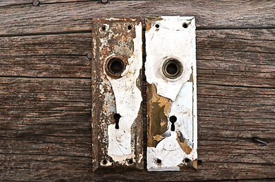 2 Salvaged Vintage Door Plates/Vintage Hardware/Architectural Salvage
